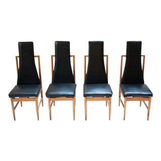 Danish Modern Teak & Black Vinyl Tall-Back Dining Chairs - Set of 4