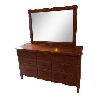 Vintage French Provincial Dresser with Mirror