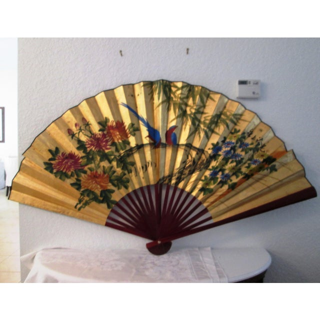 Image of Asian Blue Bird & Floral Gold Paper Wall Fan