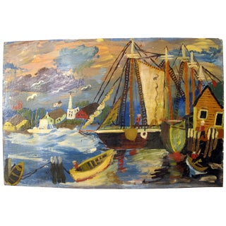 Naive Style Sailboat Painting