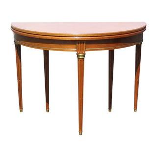 Louis XVI Style Walnut Demilune Table