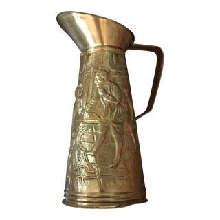 Elpec Brass Pitcher with Embossed Pub Scene