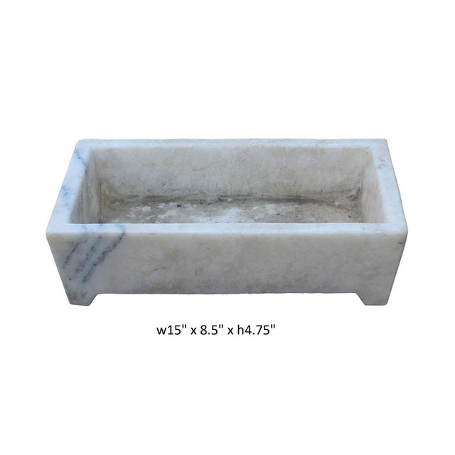 Chinese off white gray marble stone carved rectangular pot
