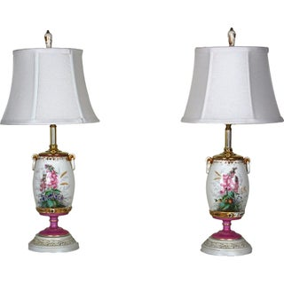 Antique 19th Century Porcelain Boudoir Lamps, W/Shades - Set of 2
