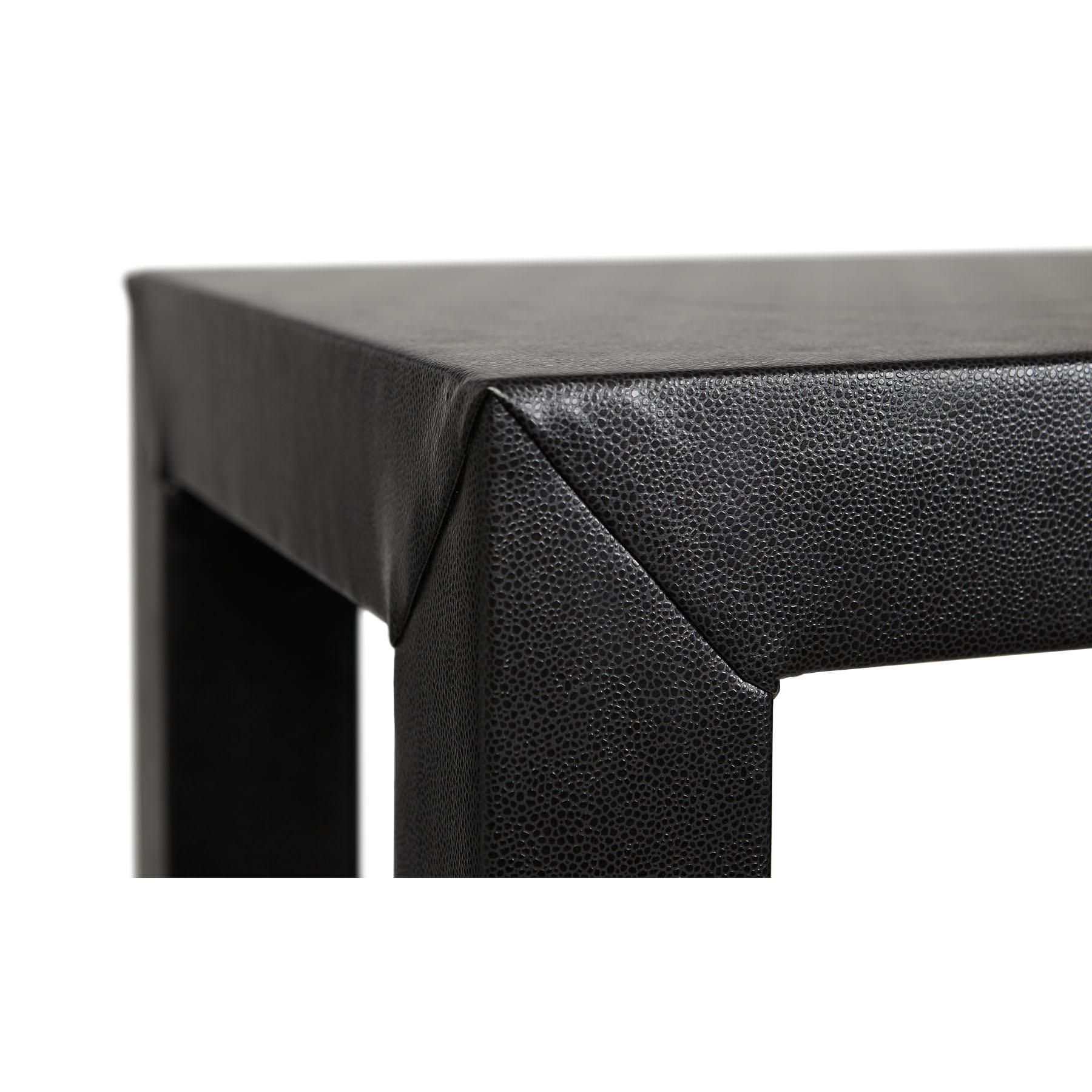 Black Faux Leather Parsons Style Console Table   Image 2 Of 2