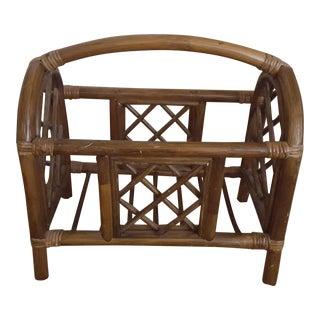 Vintage Boho Bent Wood Bamboo Magazine Stand