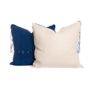 Vintage Indigo Fringe Pillows - A Pair