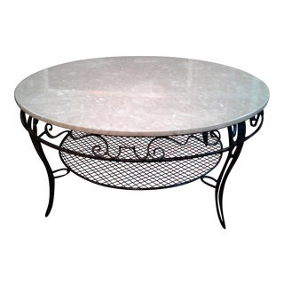 Wrought Iron & Marble Round Coffee Table