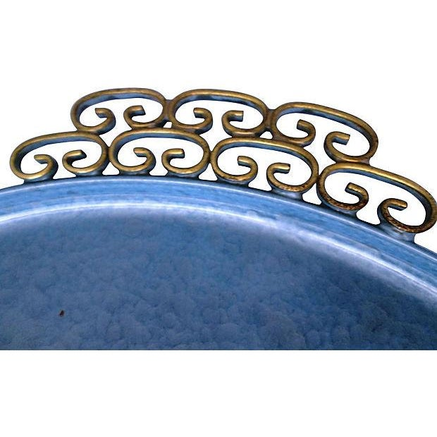 Image of Mid-Century Moiré Glaze Kyes Powder Blue Tray