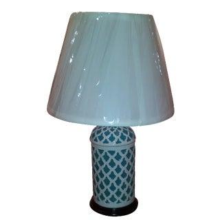 Aqua & White Ceramic Table Lamp