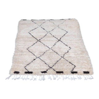 "Vintage Beni Ourain Moroccan Rug with Three Column Diamond Pattern 65""x100"""