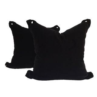 Black Velvet Pillows - a Pair