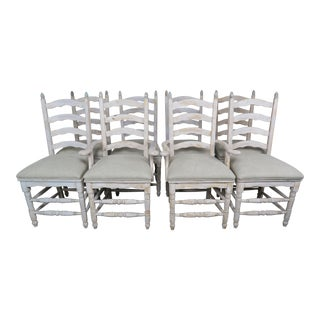 French Country Painted Ladder Back Dining Chairs - Set of 8