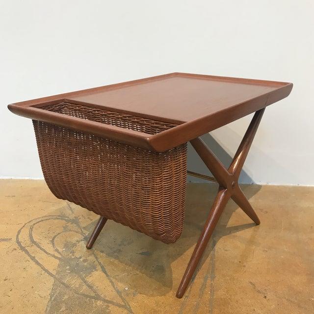 Teak X-Base Side Table W/ Magazine Basket - Image 3 of 5