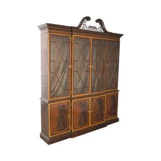 Councill Craftsman Large Inlaid Federal Style Breakfront China Cabinet