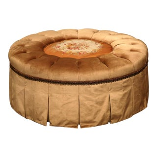 French Round Ottoman With 19th Century Center Floral Aubusson Tapestry