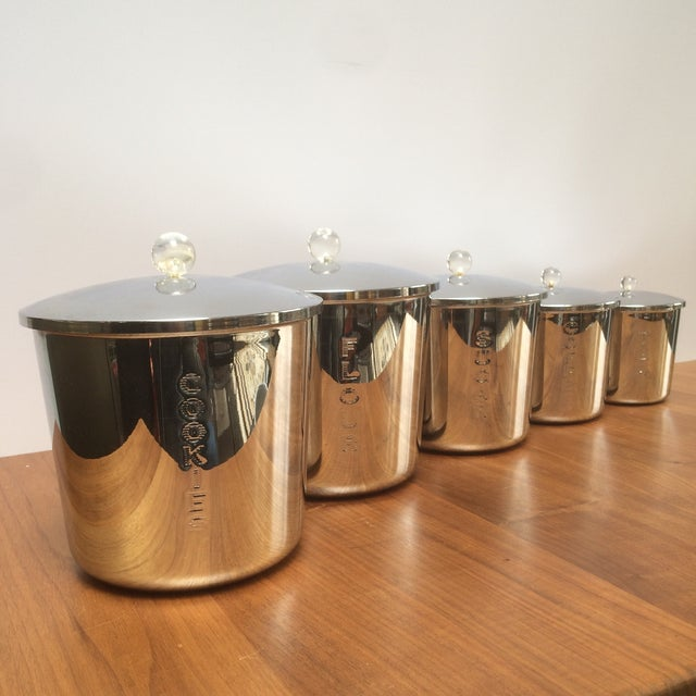 Vintage Chrome Kitchen Canisters - Set of 5 - Image 2 of 7