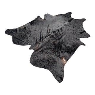 """Black Cowhide Rug -- 7'1"""" x 7'11"""""""
