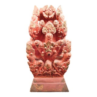 Asian Antique Wood Carved Buddha Temple Statue
