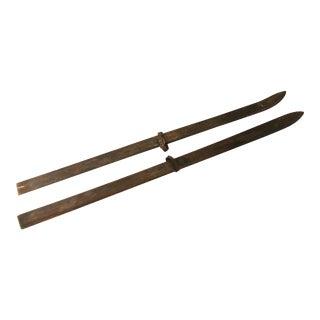 Vintage Rustic Wood Snow Skis - A Pair
