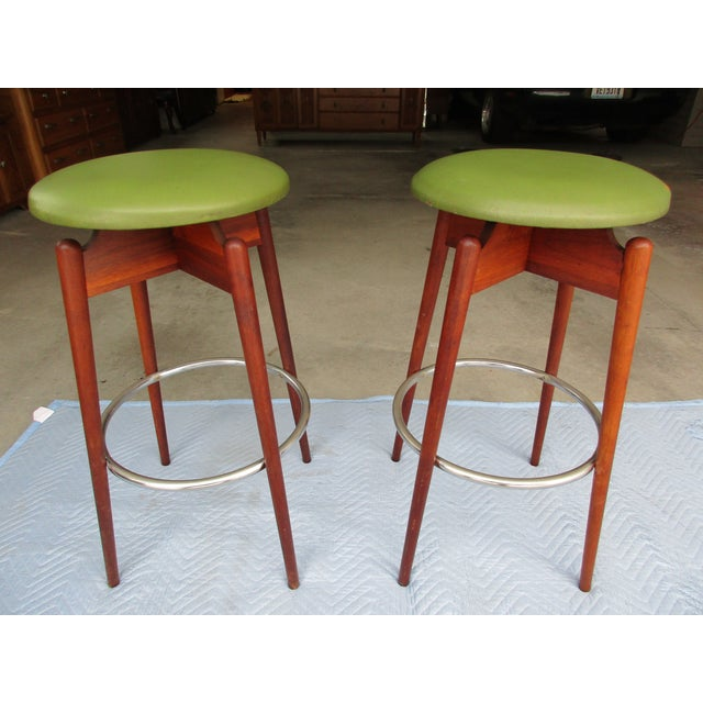 Danish Modern Floating Top Bar Stools - A Pair - Image 2 of 10