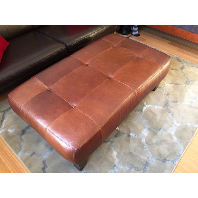 Pottery Barn Leather Ottoman - Image 3 of 3