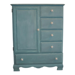 Coastal Refinished Wardrobe With Ceramic Starfish Knobs