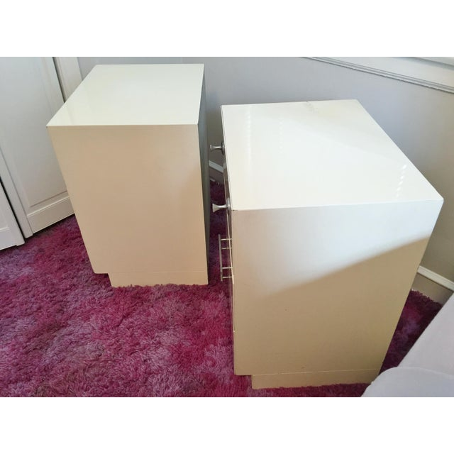 Mid-Century White Lacquer Nightstands - a Pair - Image 8 of 9