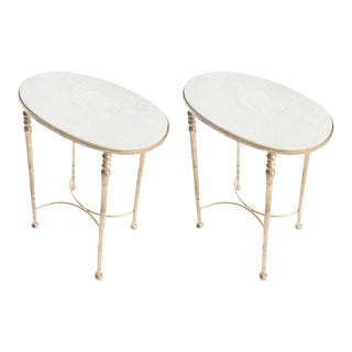 Pair of Gilt Metal and Marble Drinks Tables in the Style of Giacometti