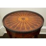Image of Round End Table With Inlay & Decorative Metal Edge