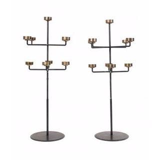 Mid-Century Iron & Brass Candelabras - A Pair