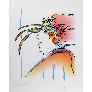 "1980 Peter Max ""Lady With Feathers"" Print"