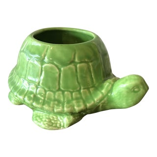 Vintage Green Tortoise Pottery Planter