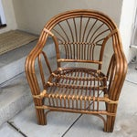 Image of Vintage Boho Rattan & Bamboo Armchair