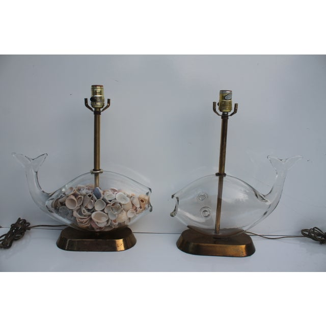Image of Blencko Art Glass Fish Table Lamps - A Pair