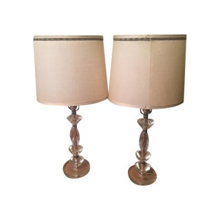 Hollywood Regency Lucite Table Lamps - A Pair