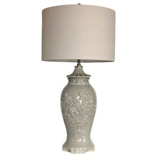 Vintage Gray Ceramic Table Lamp W/Shade