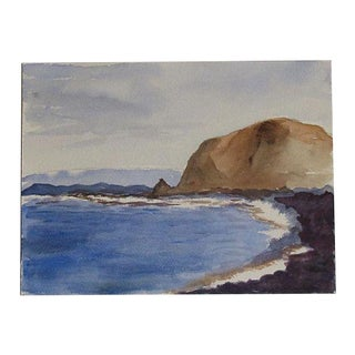 Blue and Purple Coastal Watercolor Painting