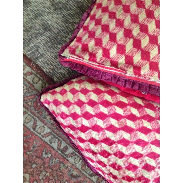 Antique Silk Velvet Persian Peacock Pillows - Pair - Image 5 of 11