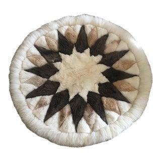 Vintage Round Peruvian Alpaca Wool Rug - 4′ × 4′