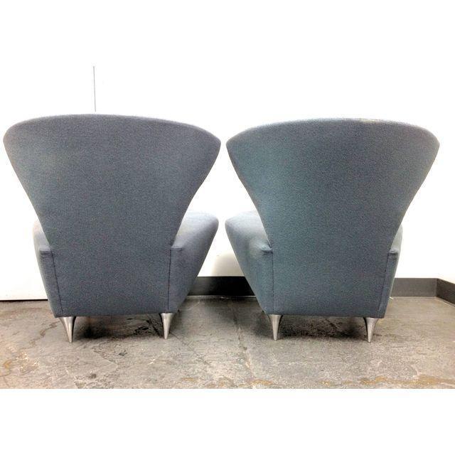 Modern Galerkin Wing Back Chairs - Pair - Image 5 of 7