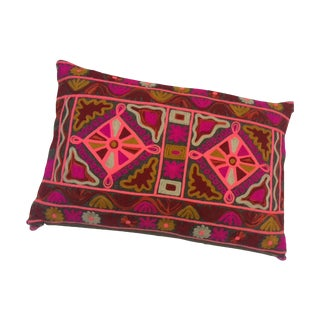 Boho Caitlyn Embroidered Pink Pillow