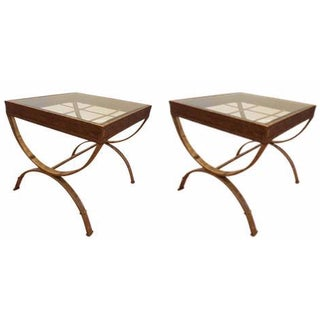 Glass Top Side Tables With Faux Gold Base - A Pair
