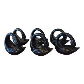 Fitz & Floyd Black Swan Napkin Rings - Set of 6