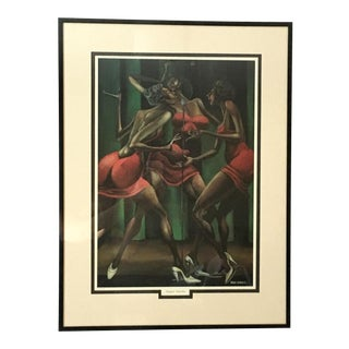 """Vintage Ernie Barnes Framed """"Singin' Sistahs"""" Print"""