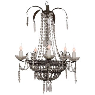 19th Century Tole and Crystal Chandelier