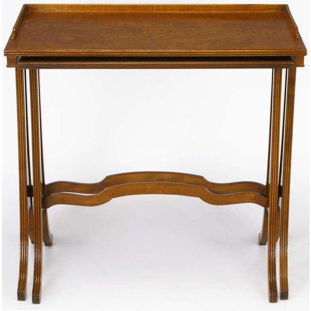 Baker Art Nouveau Style Burled Walnut Nesting Tables - Image 6 of 10