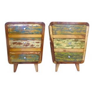 1950's Style Distressed Finish Wood Nightstands -A Pair