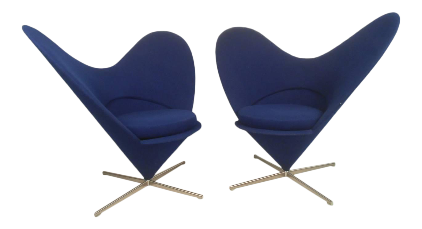 pair sculptural modern wingback swivel chairs