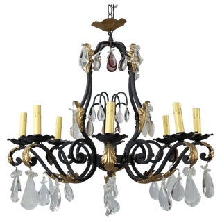 French Eight-Light Iron & Crystal Chandelier